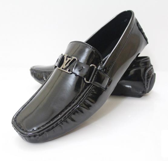 LV Glossy Black Mens Shoes